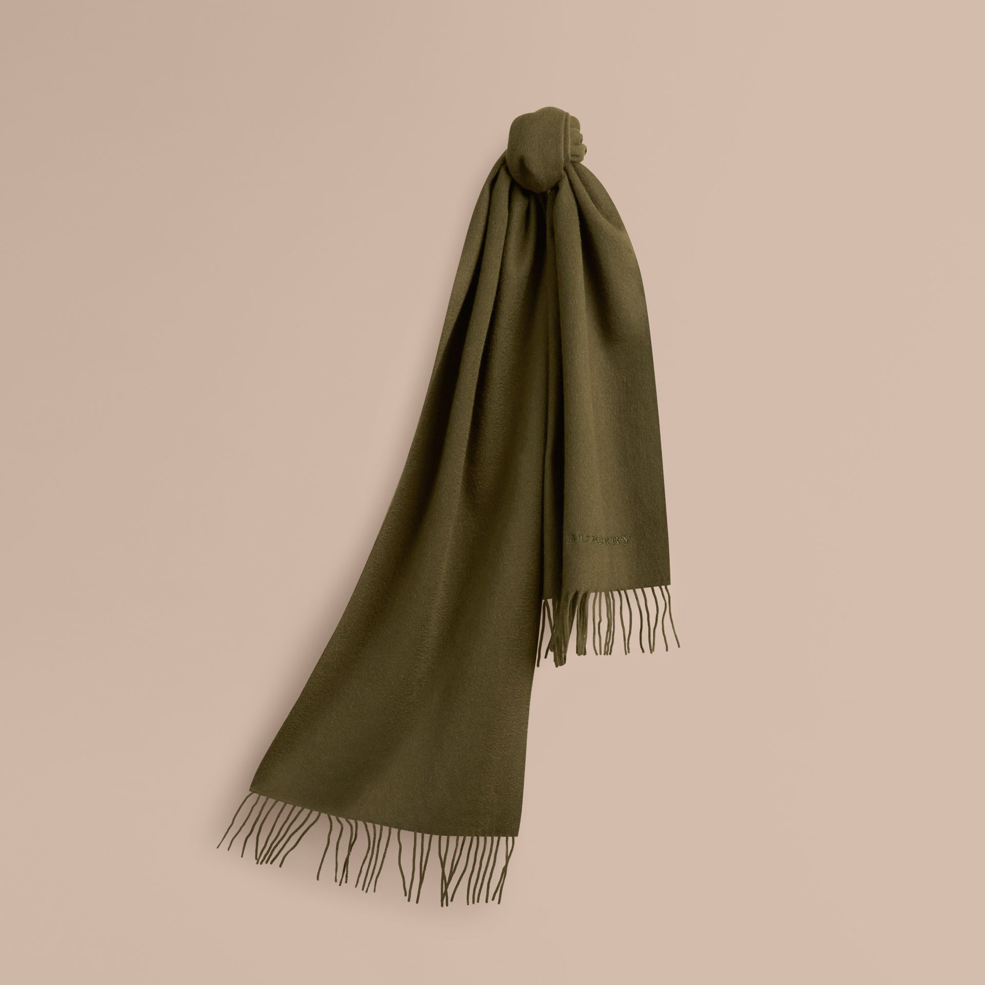 Olive green The Classic Cashmere Scarf Olive Green - gallery image 6