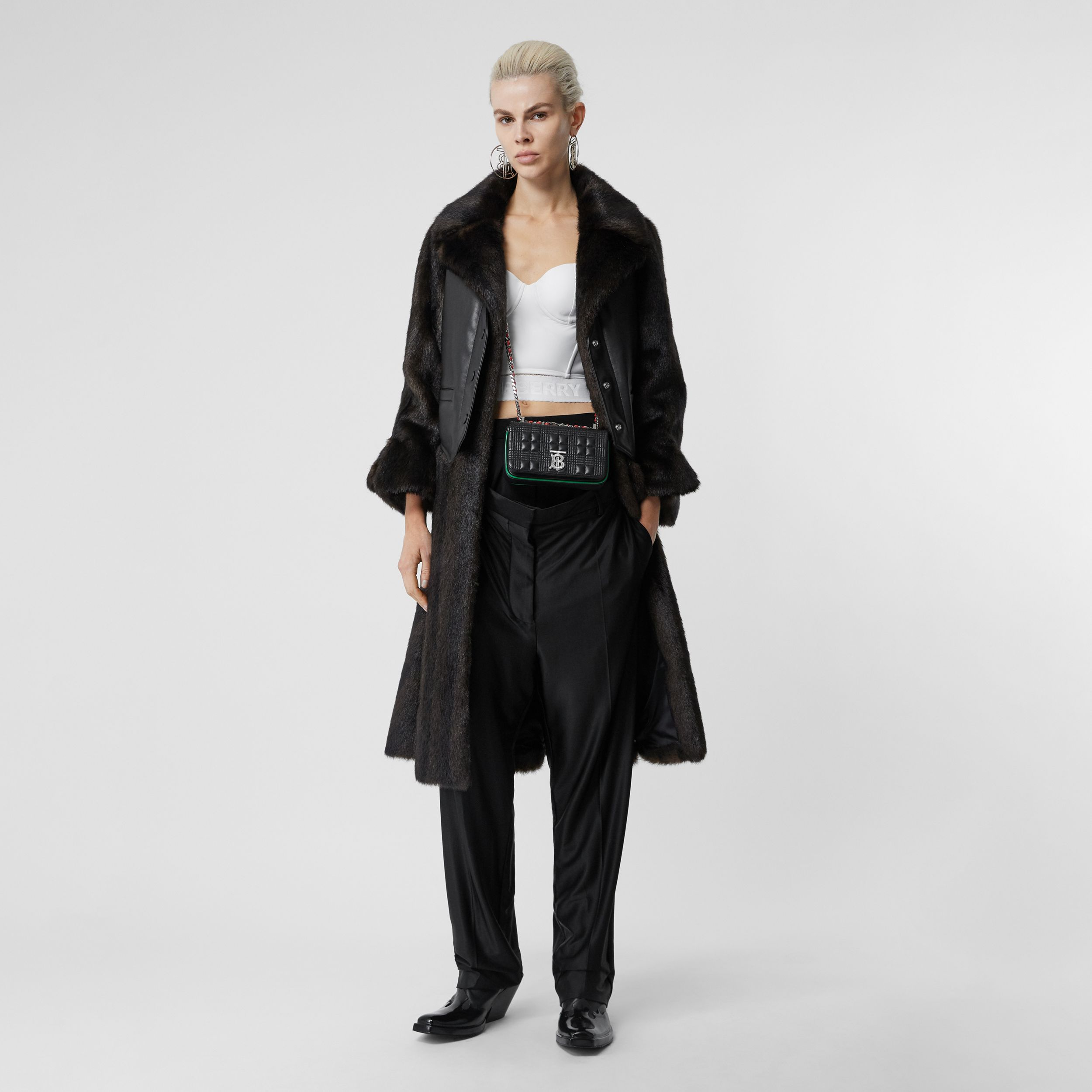 Waistcoat Detail Faux Fur Coat in Black - Women | Burberry - 1