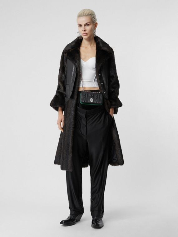 Waistcoat Detail Faux Fur Coat in Black