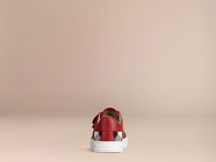 House Check and Leather Trainers in Parade Red | Burberry Singapore - cell image 2