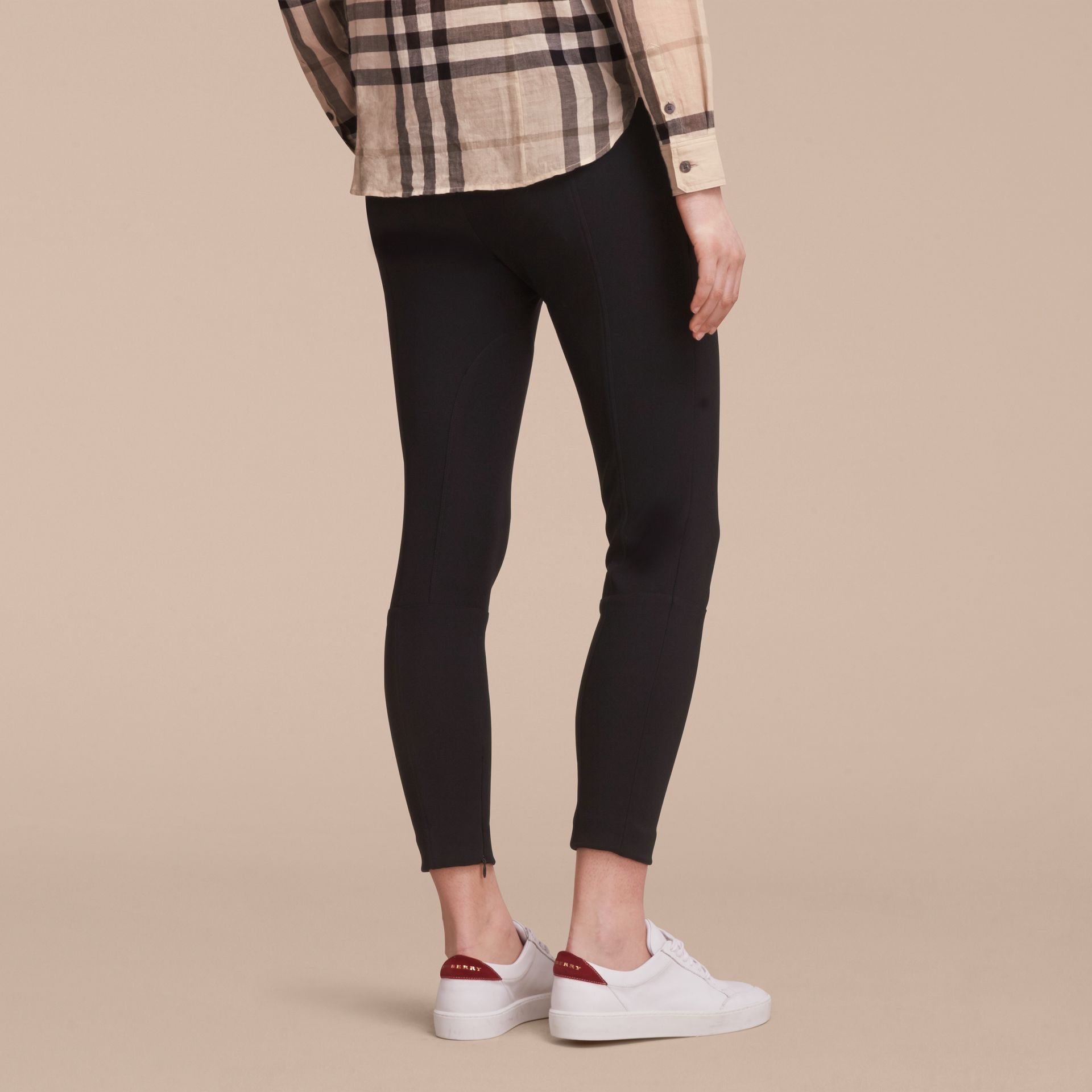 Cropped Slim Fit Trousers in Black - Women | Burberry - gallery image 3