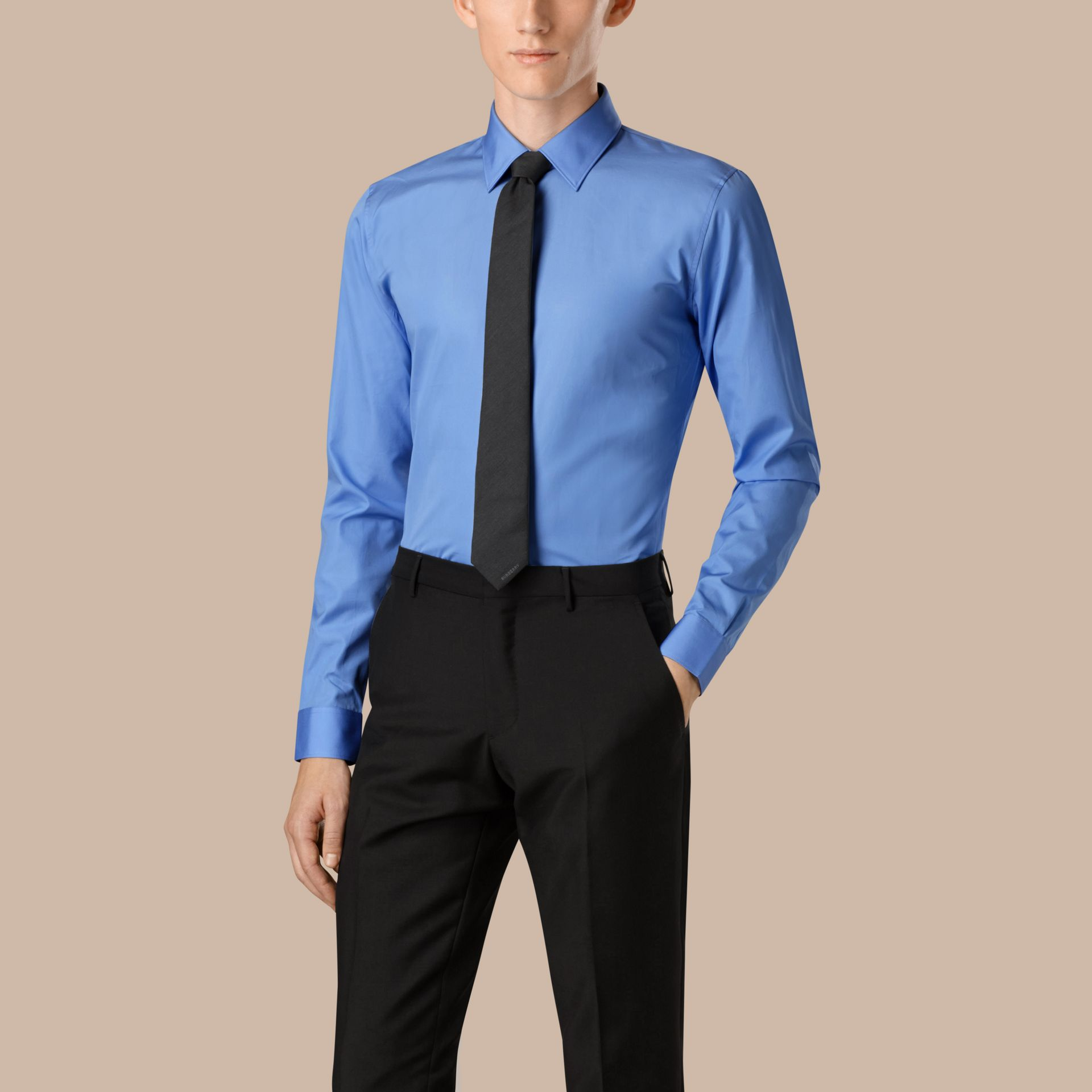 Slim Fit Cotton Poplin Shirt in Mid Blue - gallery image 1