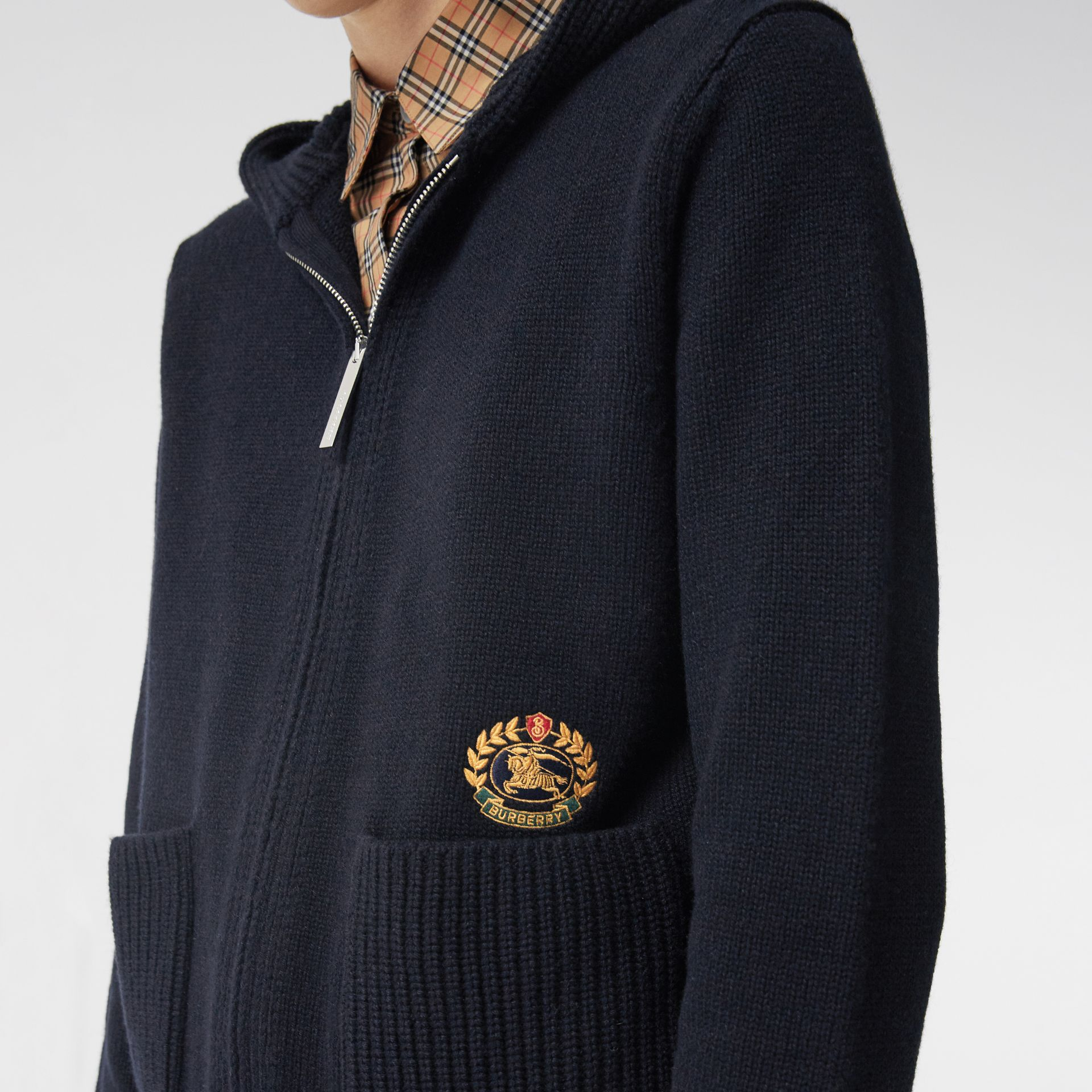 Embroidered Archive Logo Cashmere Hooded Top in Navy - Women | Burberry - gallery image 1
