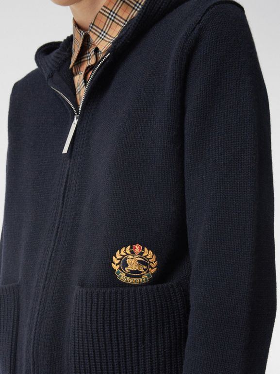 Embroidered Archive Logo Cashmere Hooded Top in Navy - Women | Burberry - cell image 1