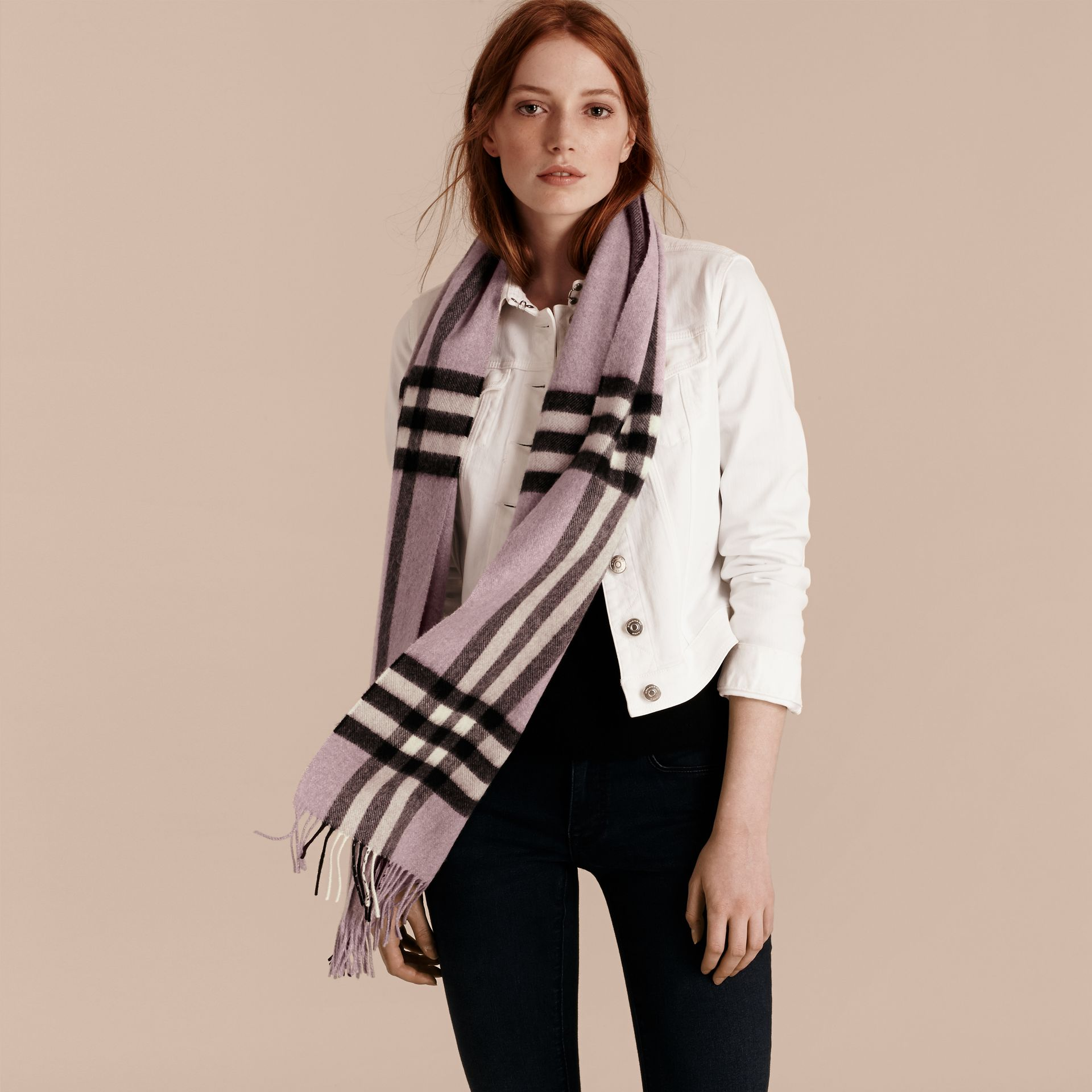 The Classic Cashmere Scarf in Check Dusty Lilac - gallery image 3
