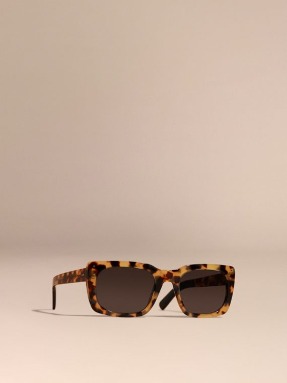 Square Frame Sunglasses Tortoise Amber
