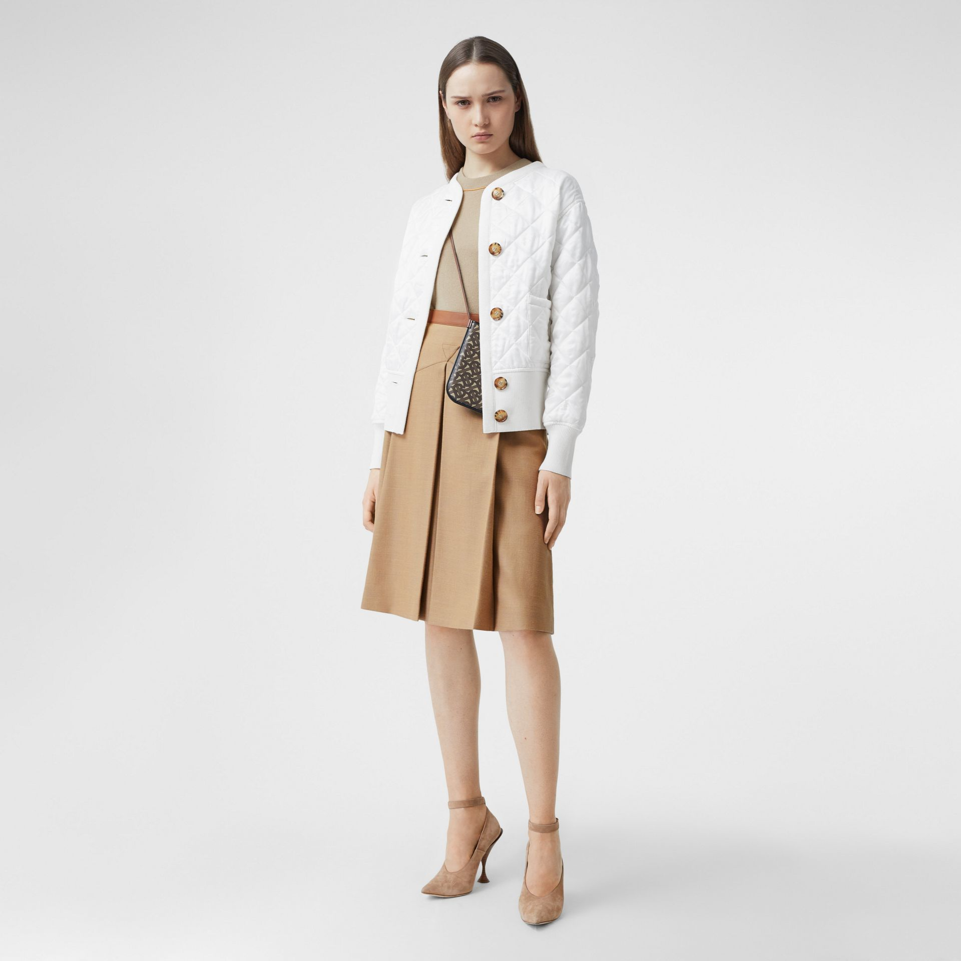 Logo Jacquard Diamond Quilted and Wool Blend Jacket in White - Women | Burberry Australia - gallery image 5
