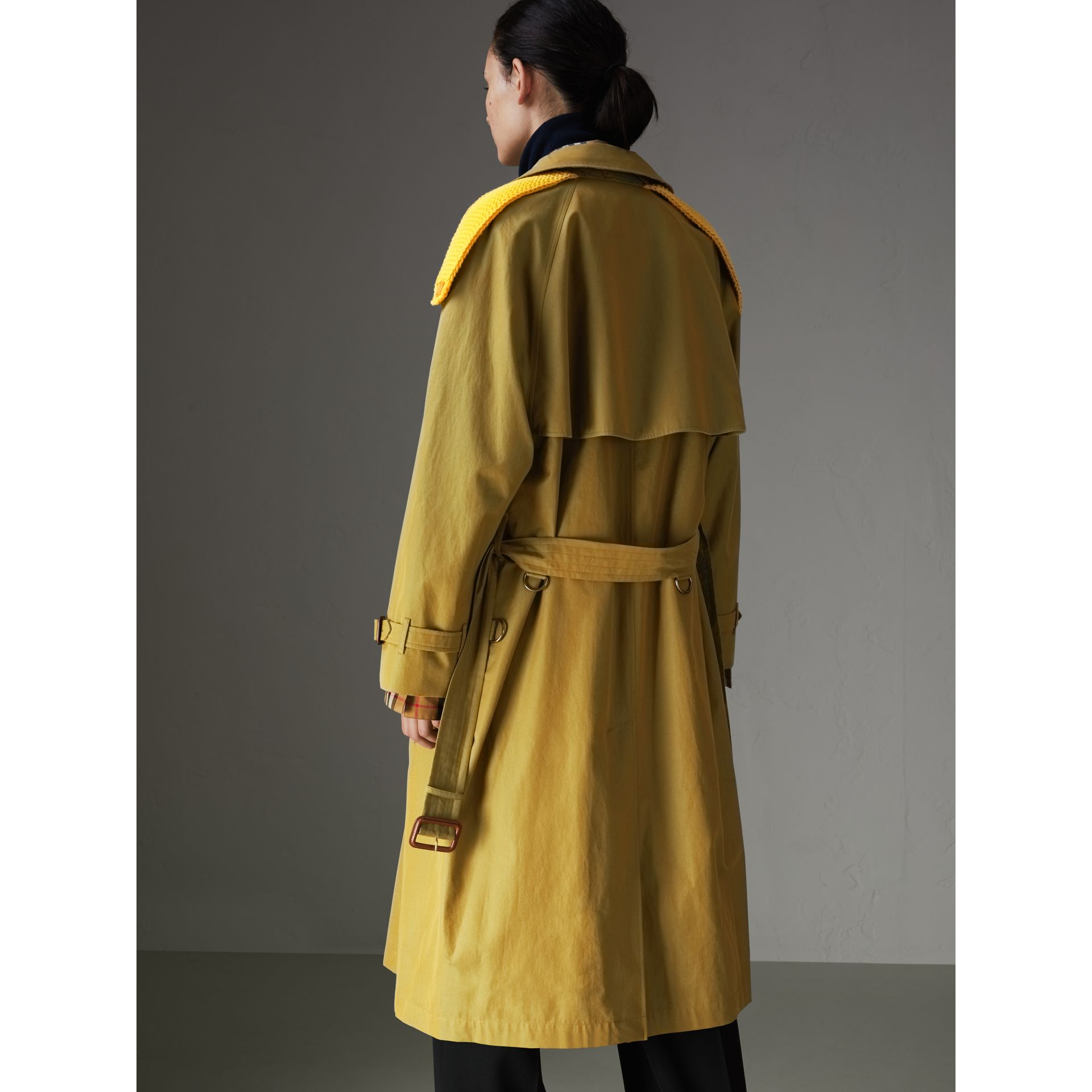Knit-detail Tropical Gabardine Trench Coat in Green Ochre - Women | Burberry Canada - gallery image 2