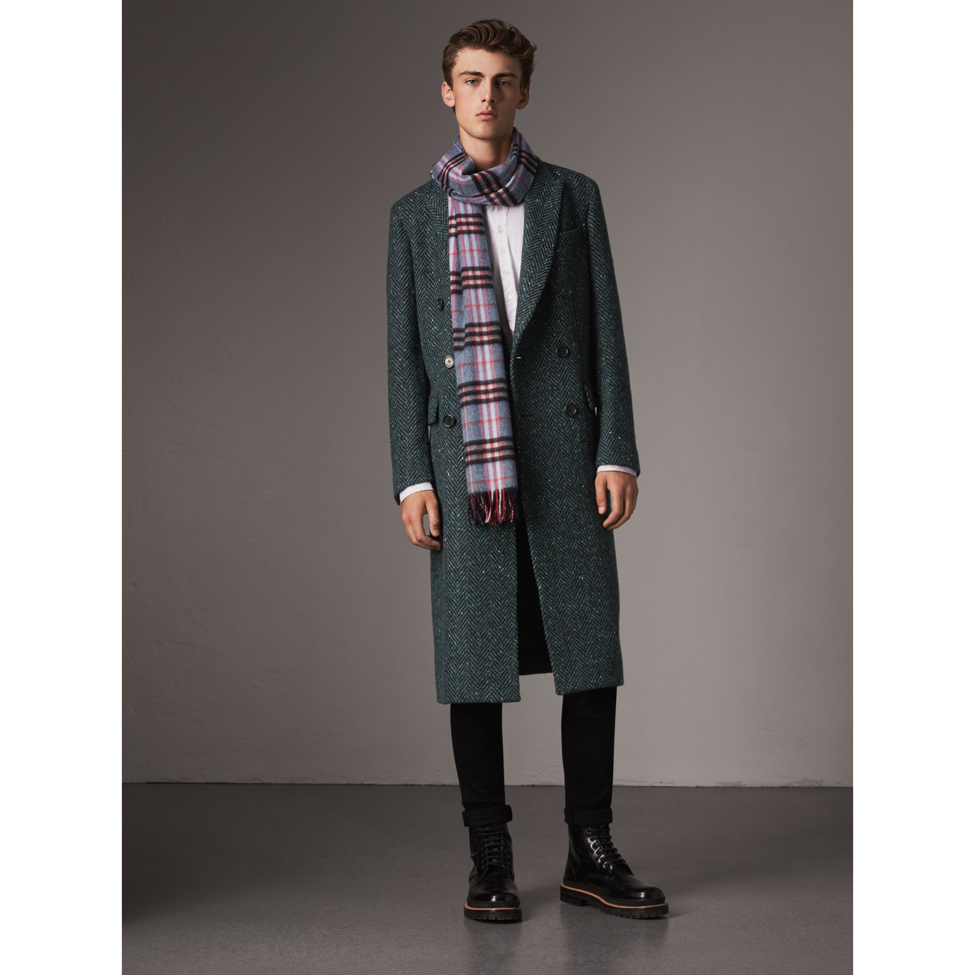 Donegal Herringbone Wool Double-breasted Coat in Dark Navy - Men | Burberry United States - gallery image 5
