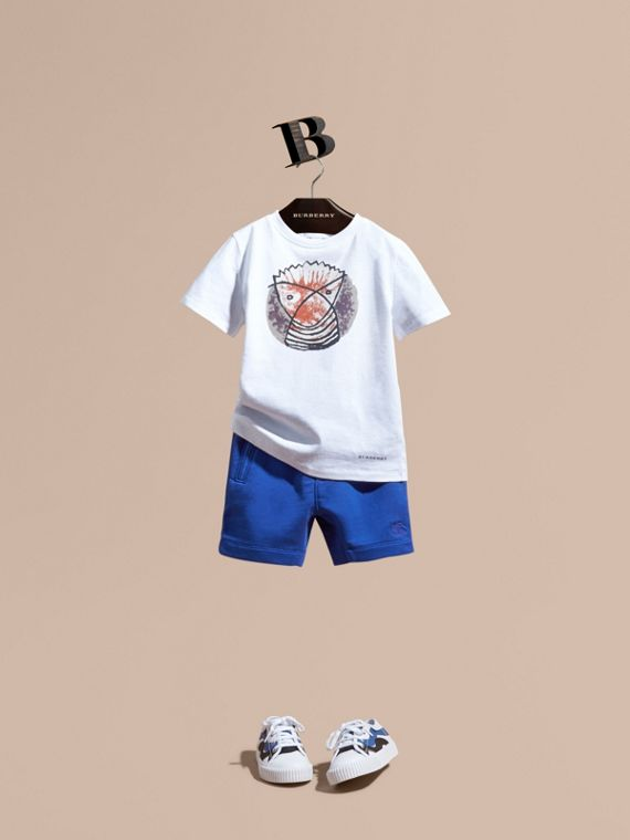 Cotton Jersey Drawcord Shorts in Brilliant Blue - Boy | Burberry Hong Kong