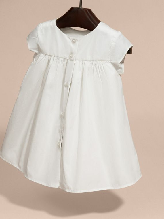 White Embroidered Taffeta Dress with Bloomers - cell image 3