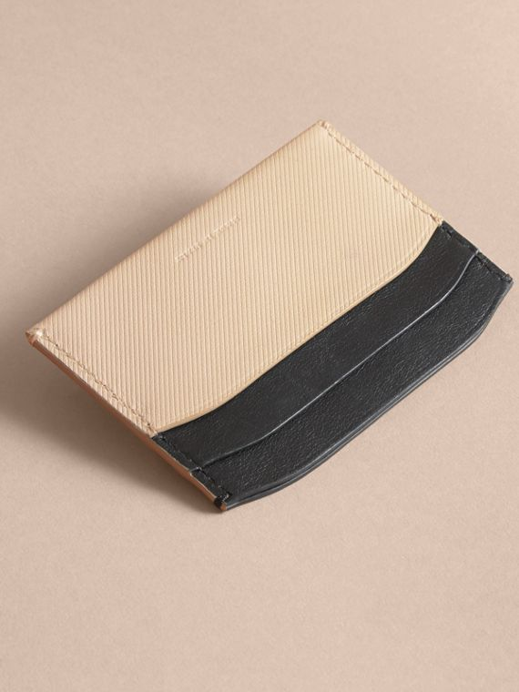 Two-tone Trench Leather Card Case in Limestone/ Black - Women | Burberry - cell image 3