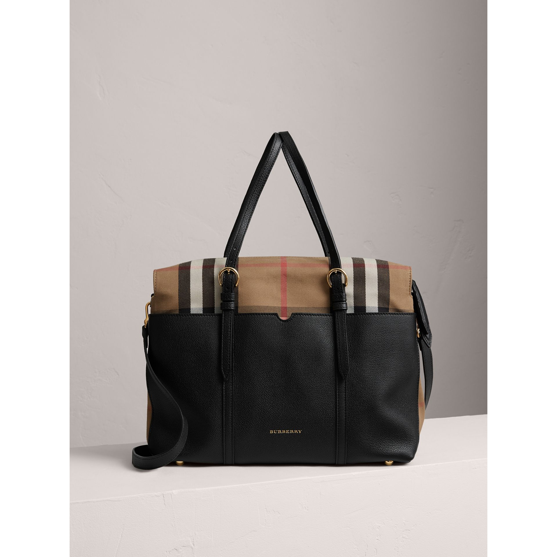 House Check and Leather Baby Changing Bag in Black | Burberry - gallery image 0