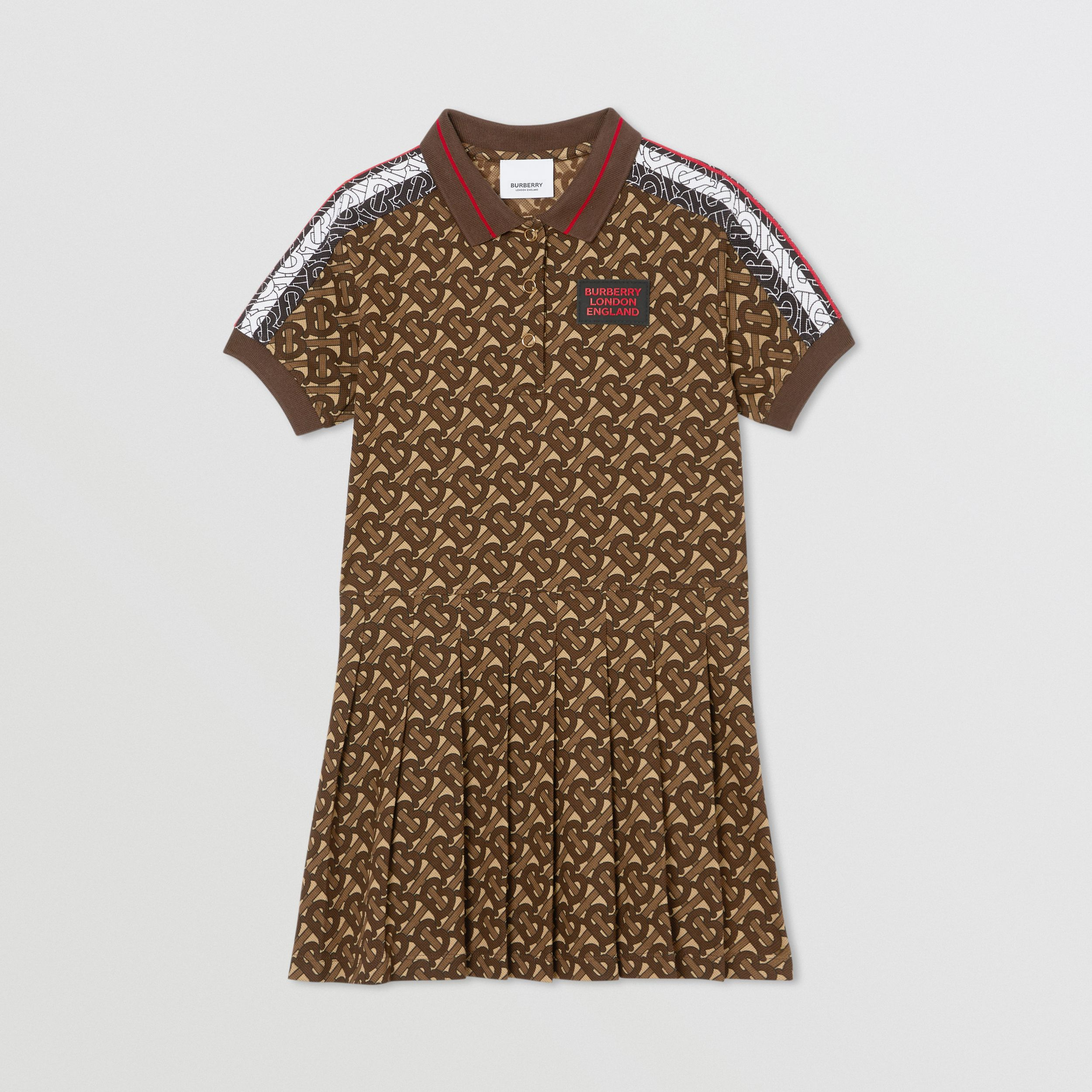 Monogram Stripe Print Cotton Polo Shirt Dress in Bridle Brown | Burberry - 1