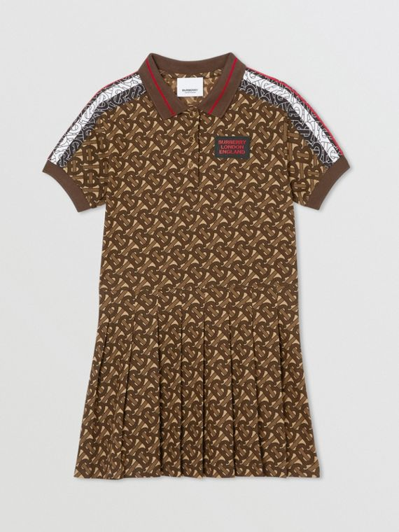 Monogram Stripe Print Cotton Polo Shirt Dress in Bridle Brown