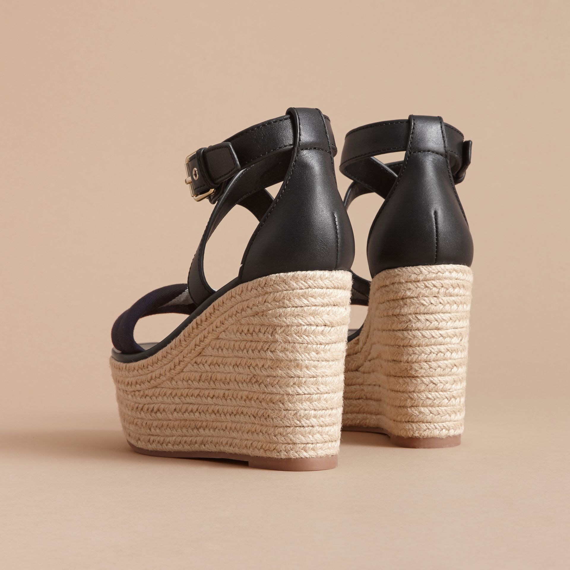 Leather and House Check Platform Espadrille Wedge Sandals Navy - gallery image 5