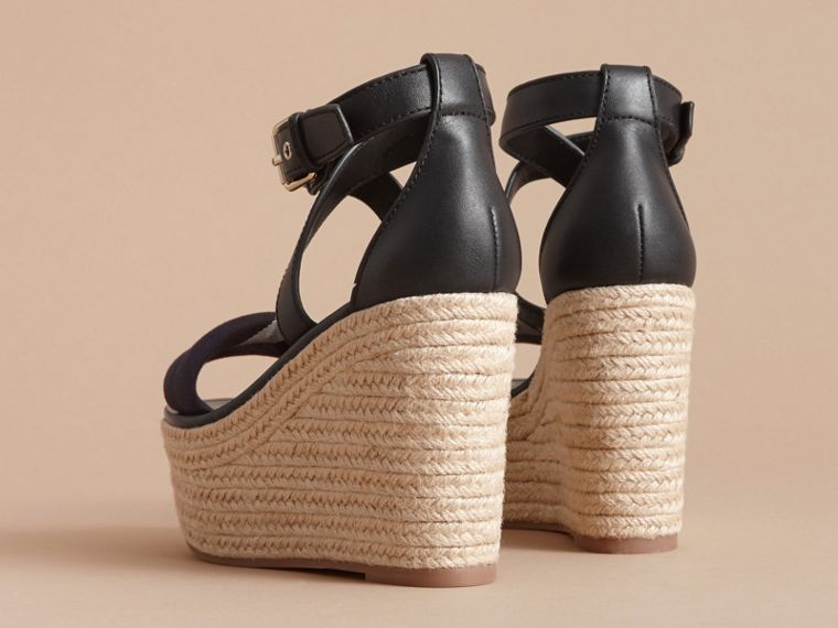 Leather and House Check Platform Espadrille Wedge Sandals Navy - cell image 4