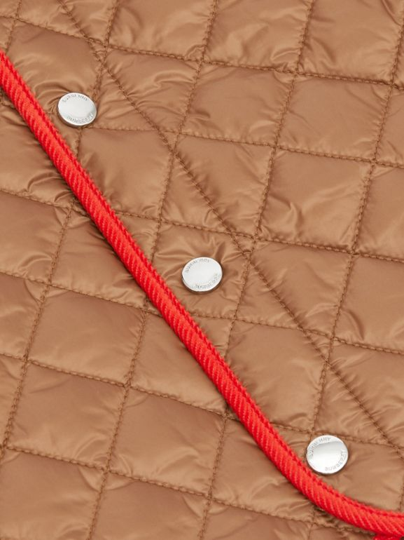 Corduroy Trim Lightweight Diamond Quilted Jacket in Bronze - Children | Burberry United Kingdom - cell image 1