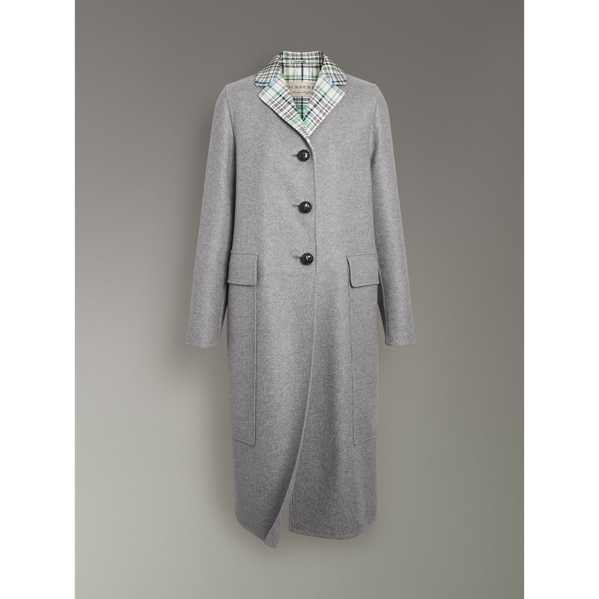 Check Collar Cashmere Coat in Pale Grey Melange - Women | Burberry - gallery image 3