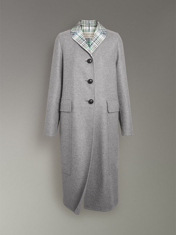 Check Collar Cashmere Coat in Pale Grey Melange - Women | Burberry United Kingdom - cell image 3