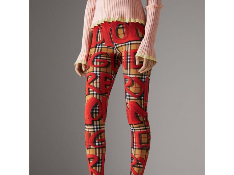 Graffiti Print Leggings in Bright Red - Women | Burberry - cell image 4