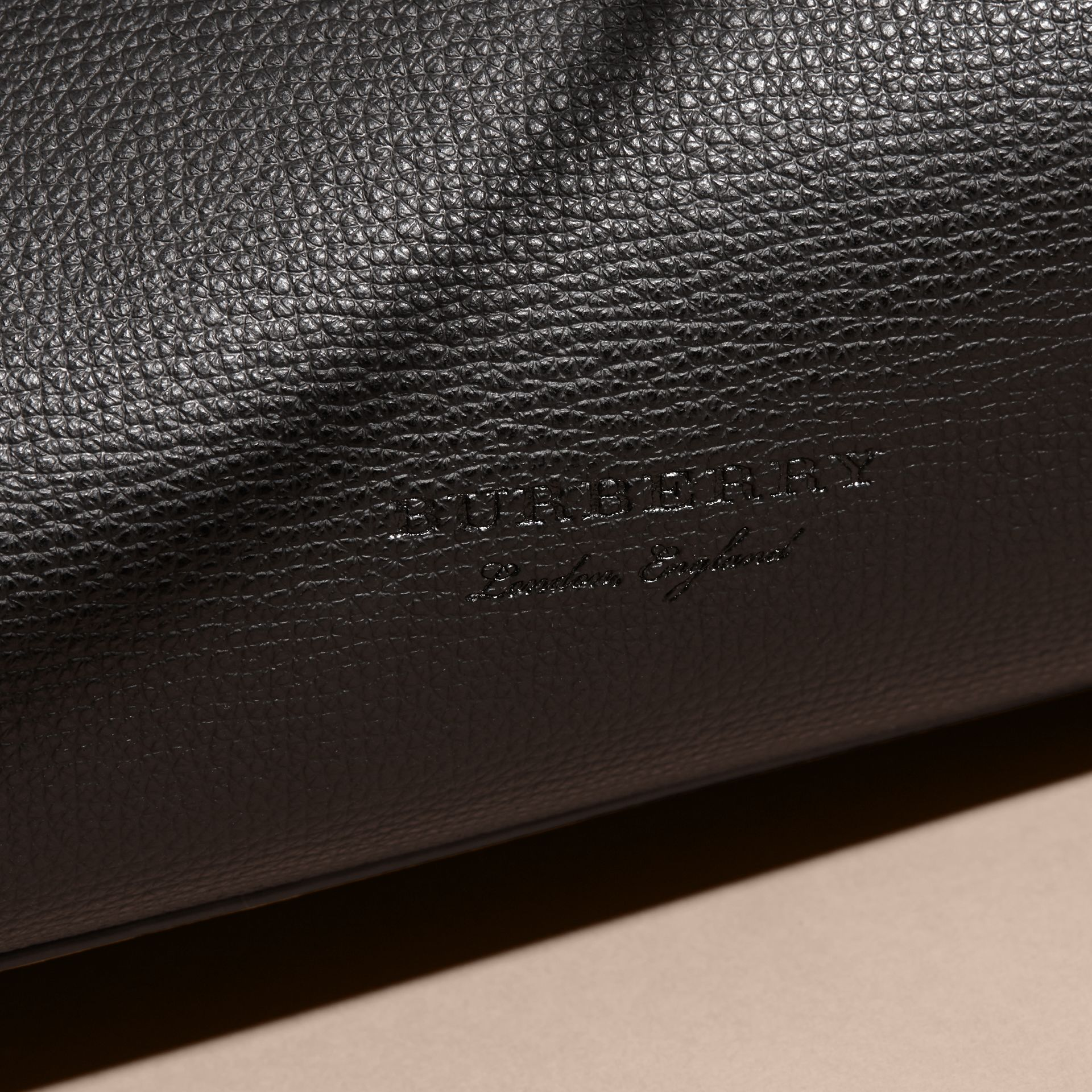 The Small Reversible Tote in Haymarket Check and Leather in Black - Women | Burberry - gallery image 2