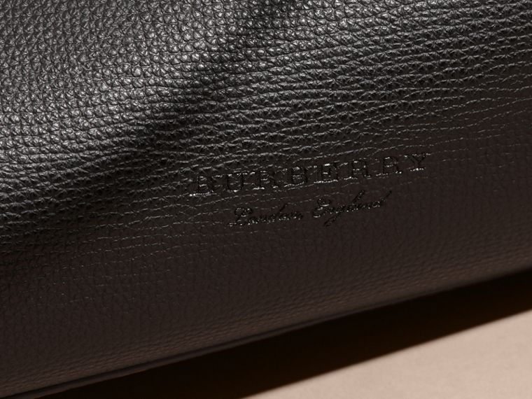 The Small Reversible Tote in Haymarket Check and Leather in Black - Women | Burberry - cell image 1