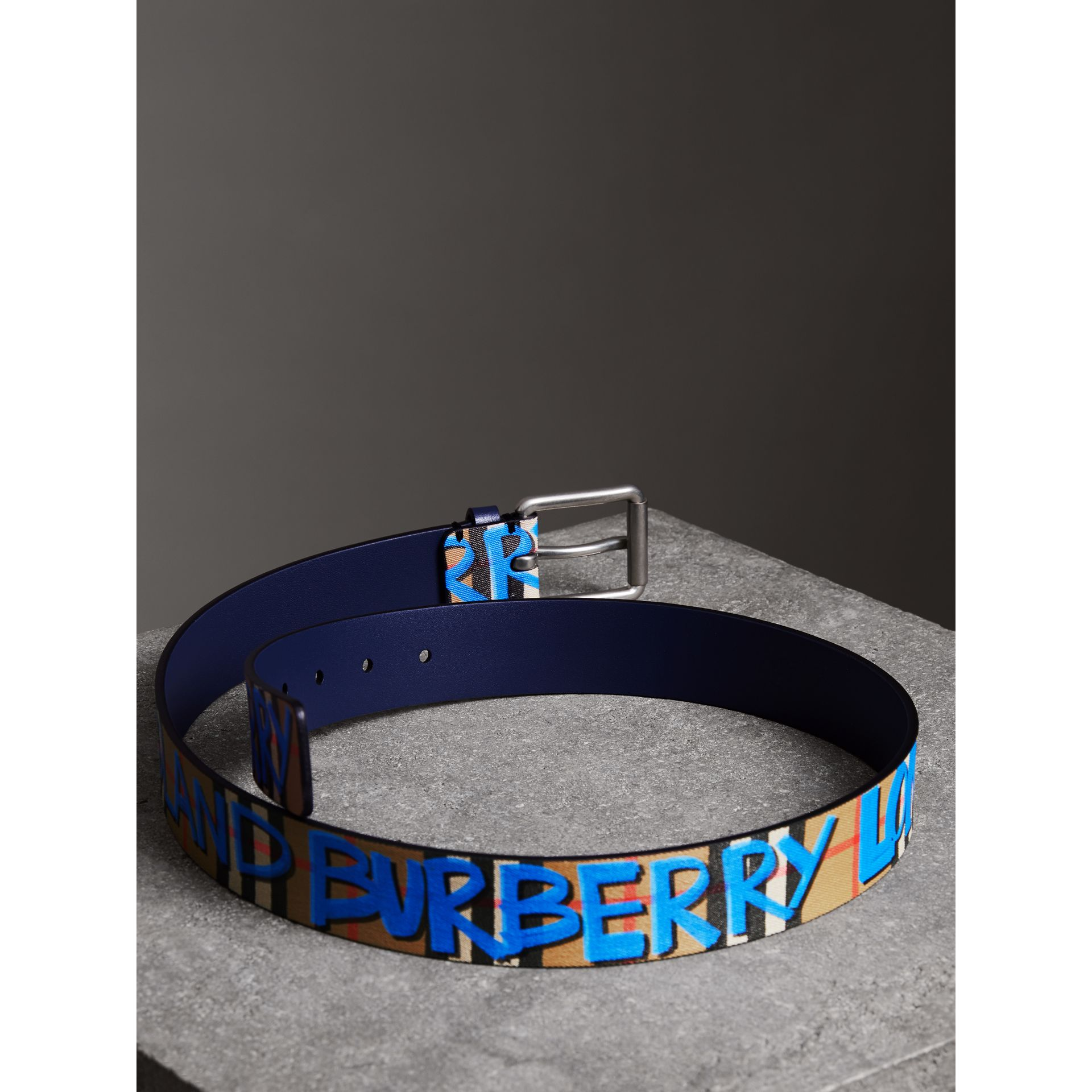 Graffiti Print Vintage Check Leather Belt in Canvas Blue/antique Yellow - Men | Burberry United Kingdom - gallery image 3
