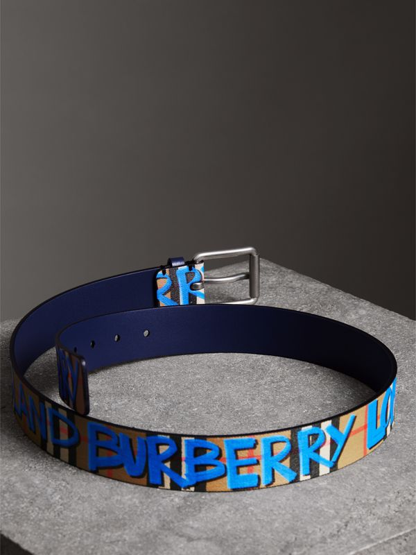 Graffiti Print Vintage Check Leather Belt in Canvas Blue/antique Yellow - Men | Burberry - cell image 3