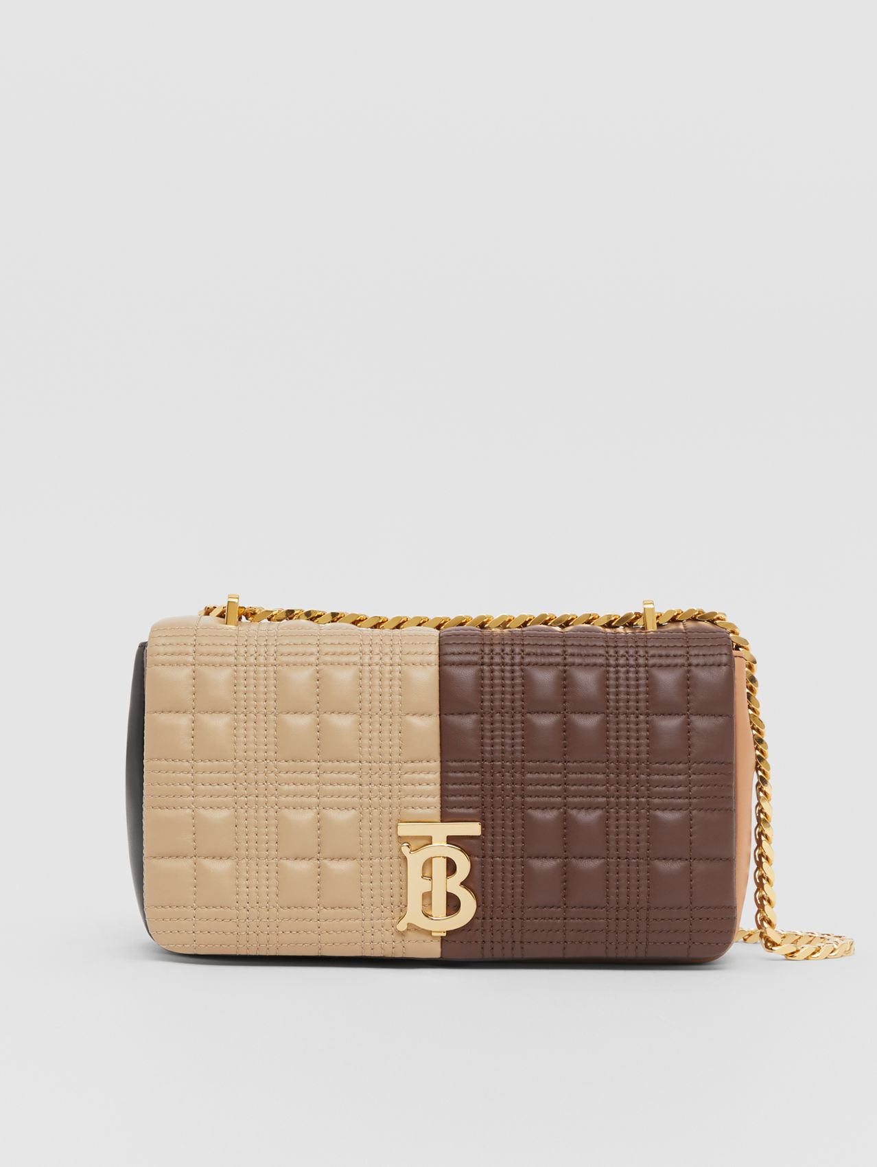 Small Quilted Colour Block Lambskin Lola Bag in Soft Fawn/dark Mocha