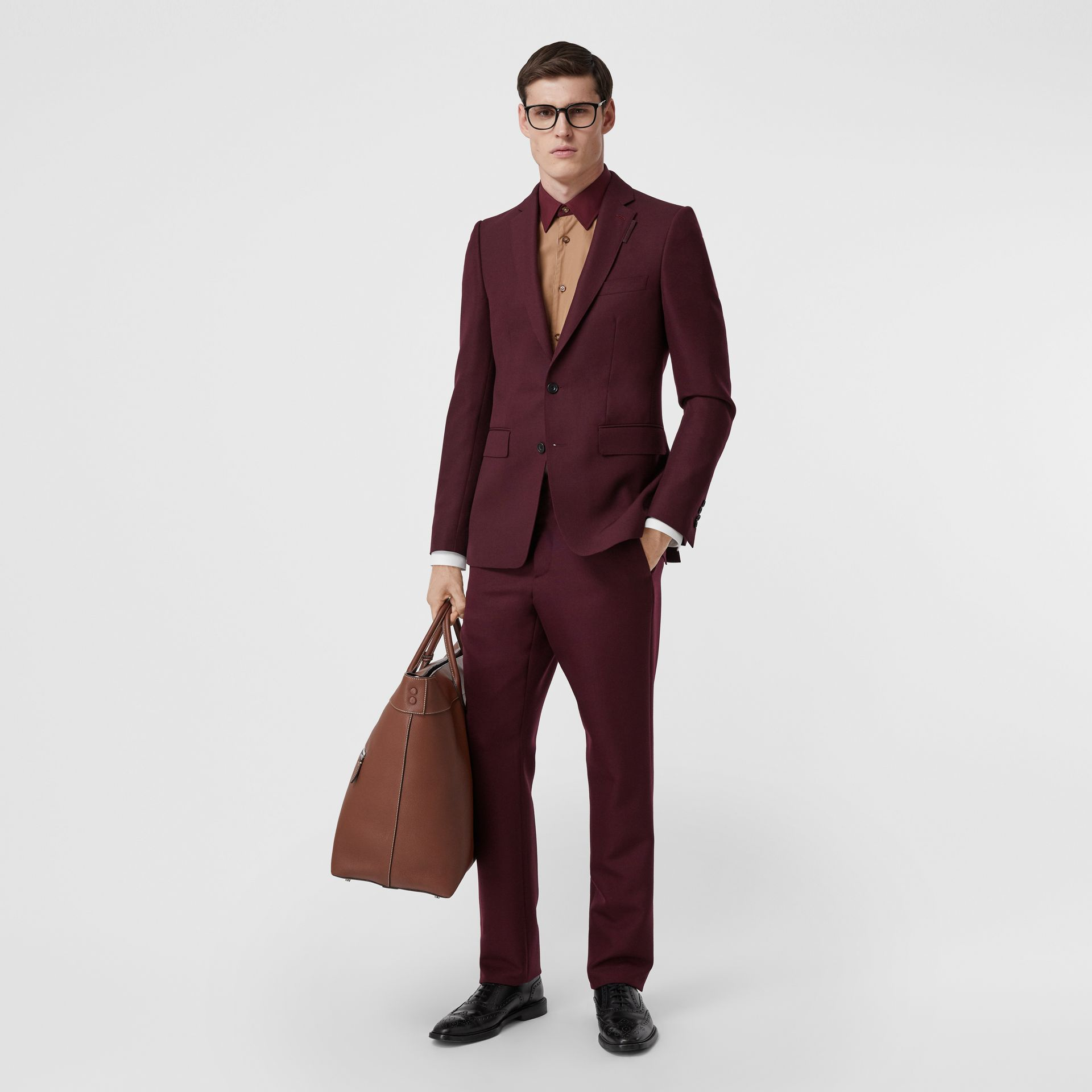 Classic Fit Wool Mohair Tailored Trousers in Deep Burgundy - Men | Burberry - gallery image 0