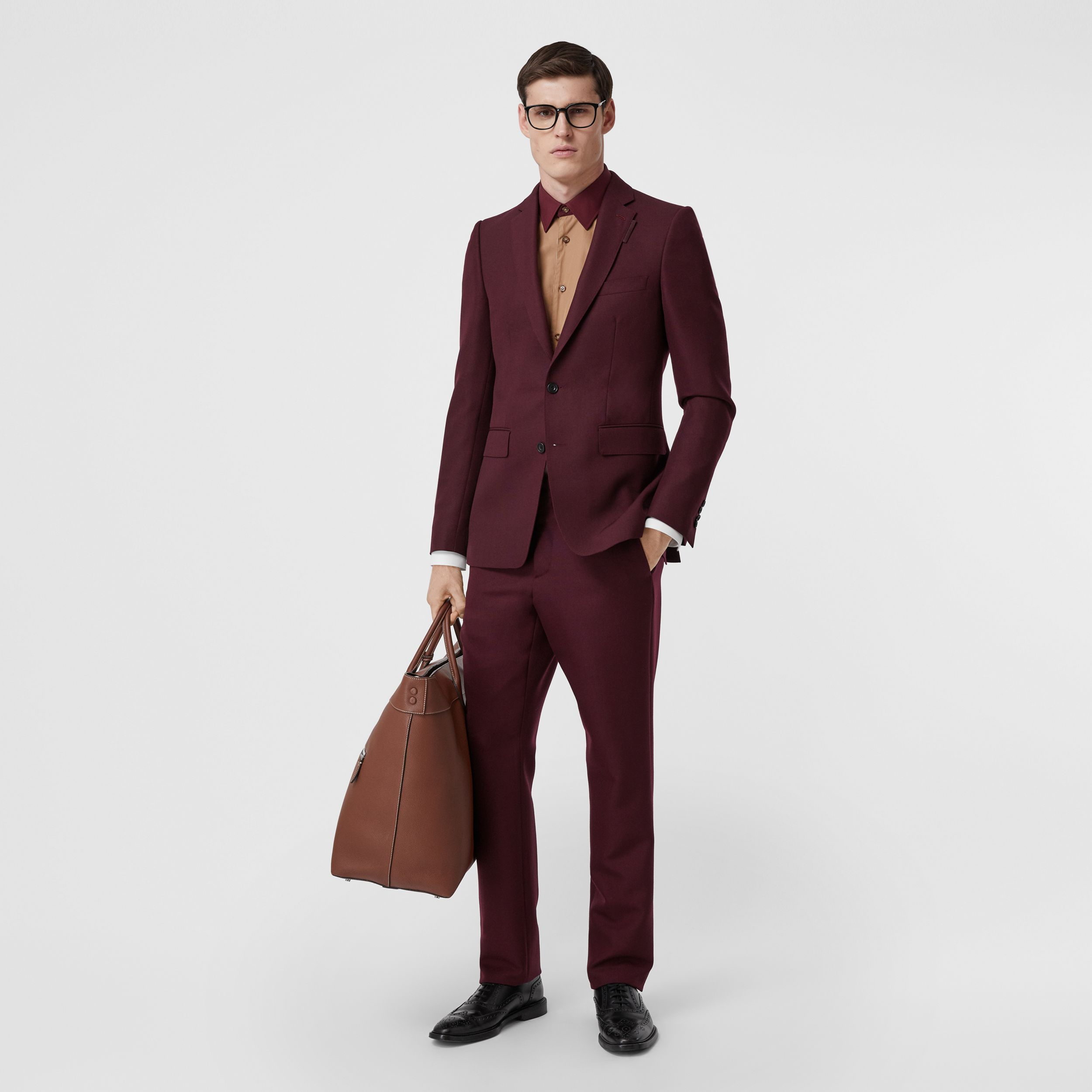 Classic Fit Wool Mohair Tailored Trousers in Deep Burgundy - Men | Burberry United Kingdom - 1