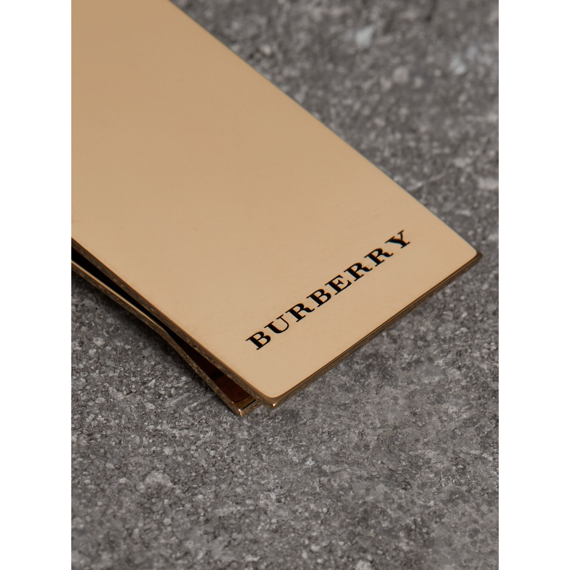 Engraved Bronze Money Clip in Light Gold - Men | Burberry Hong Kong - gallery image 1