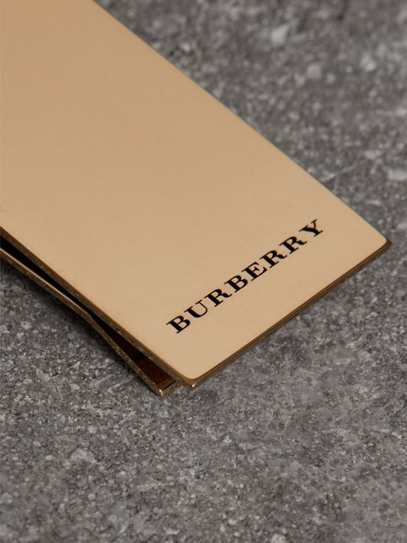 Engraved Bronze Money Clip in Light Gold - Men | Burberry - cell image 1