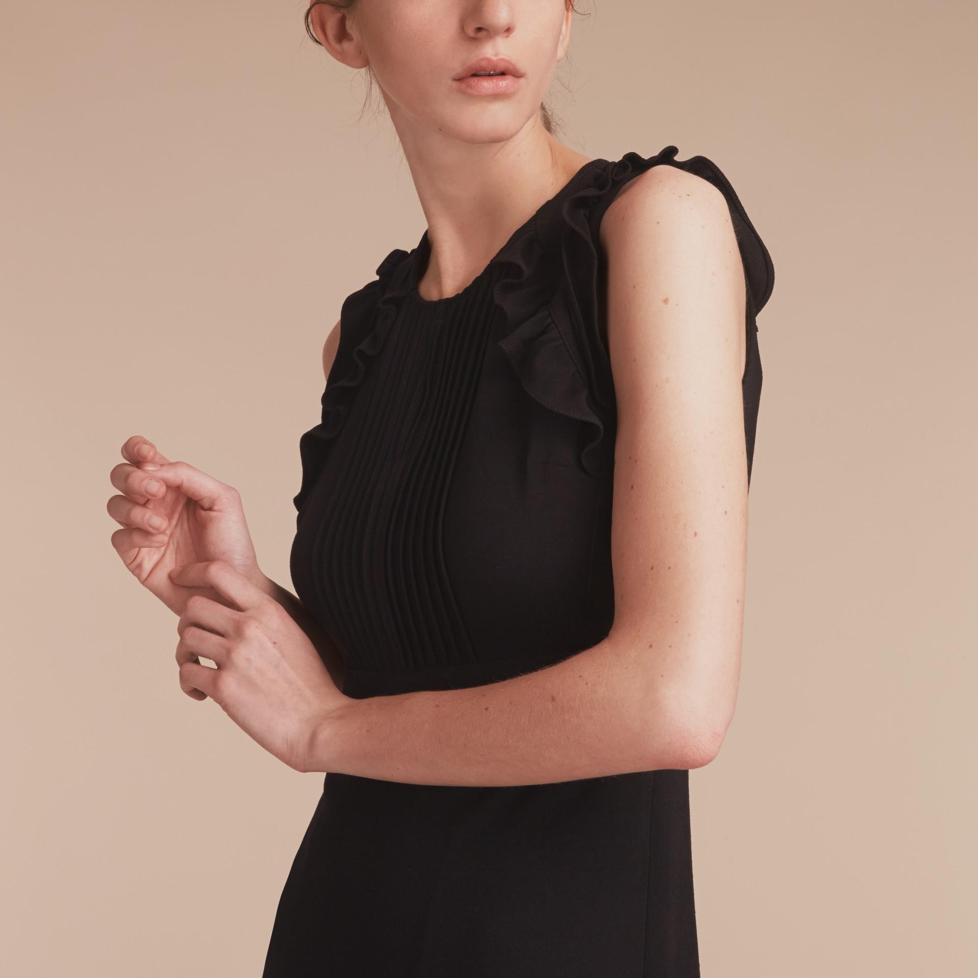 Sleeveless Ruffle Trim Crepe Dress - gallery image 5