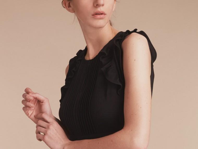 Sleeveless Ruffle Trim Crepe Dress - cell image 4