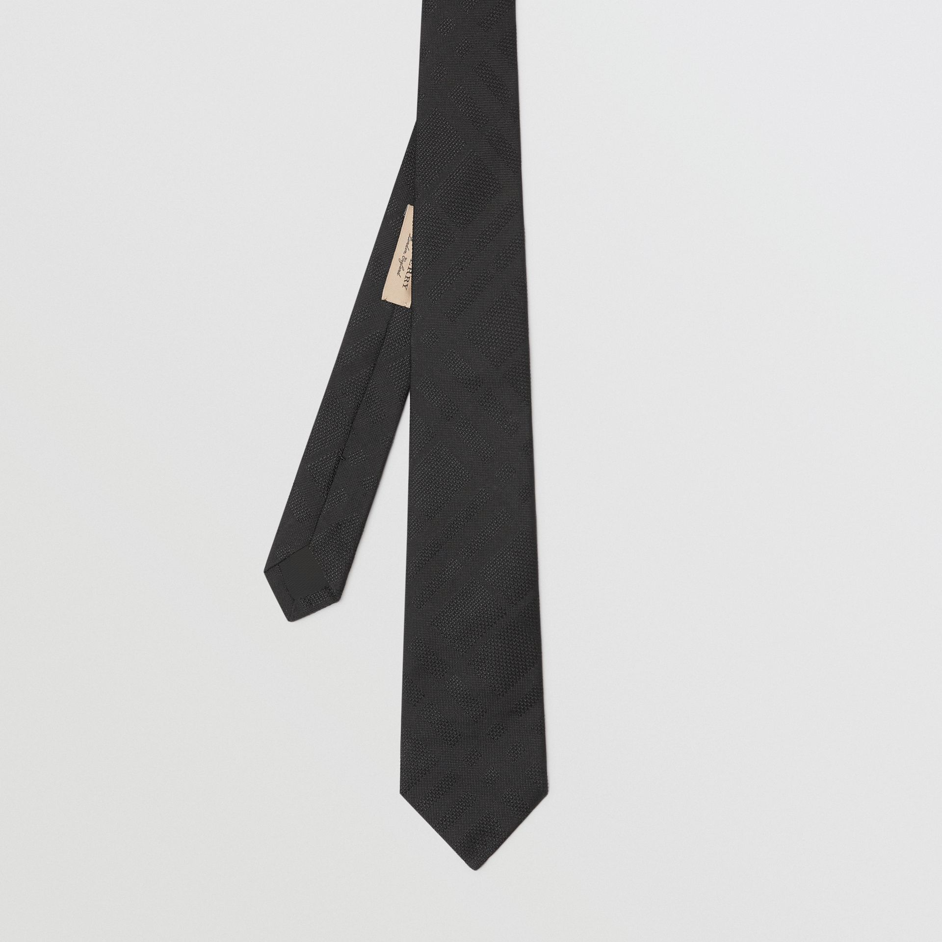 Modern Cut Check Silk Tie in Black - Men | Burberry Australia - gallery image 3