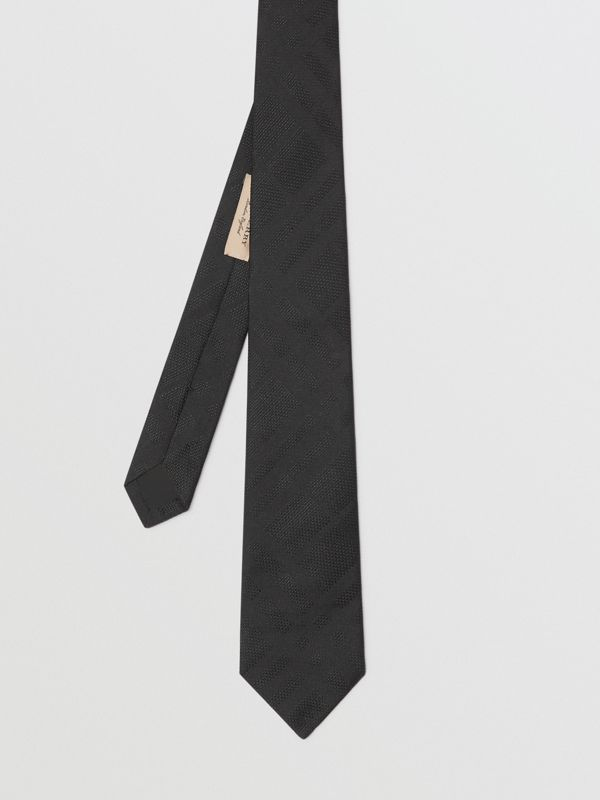 Modern Cut Check Silk Tie in Black - Men | Burberry Australia - cell image 3