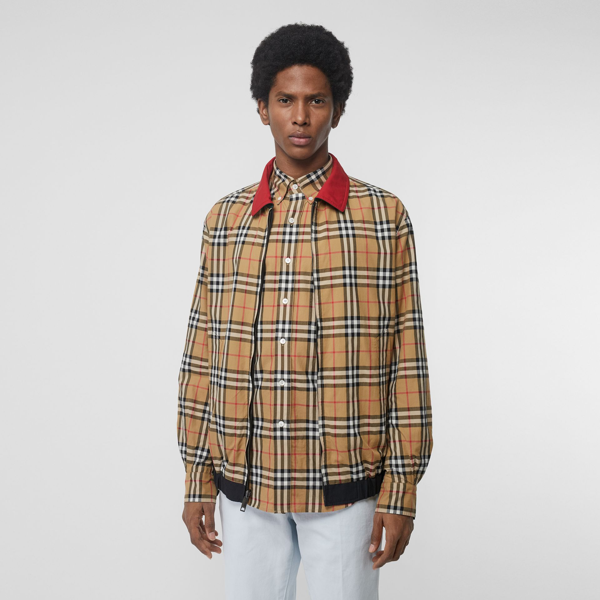 Reversible Vintage Check Harrington Jacket in Midnight - Men | Burberry United Kingdom - gallery image 5