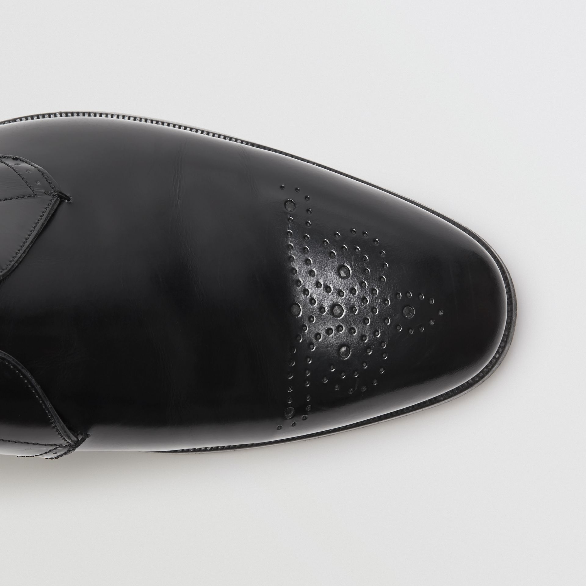 Perforated Detail Leather Derby Shoes in Black - Men | Burberry Canada - gallery image 1
