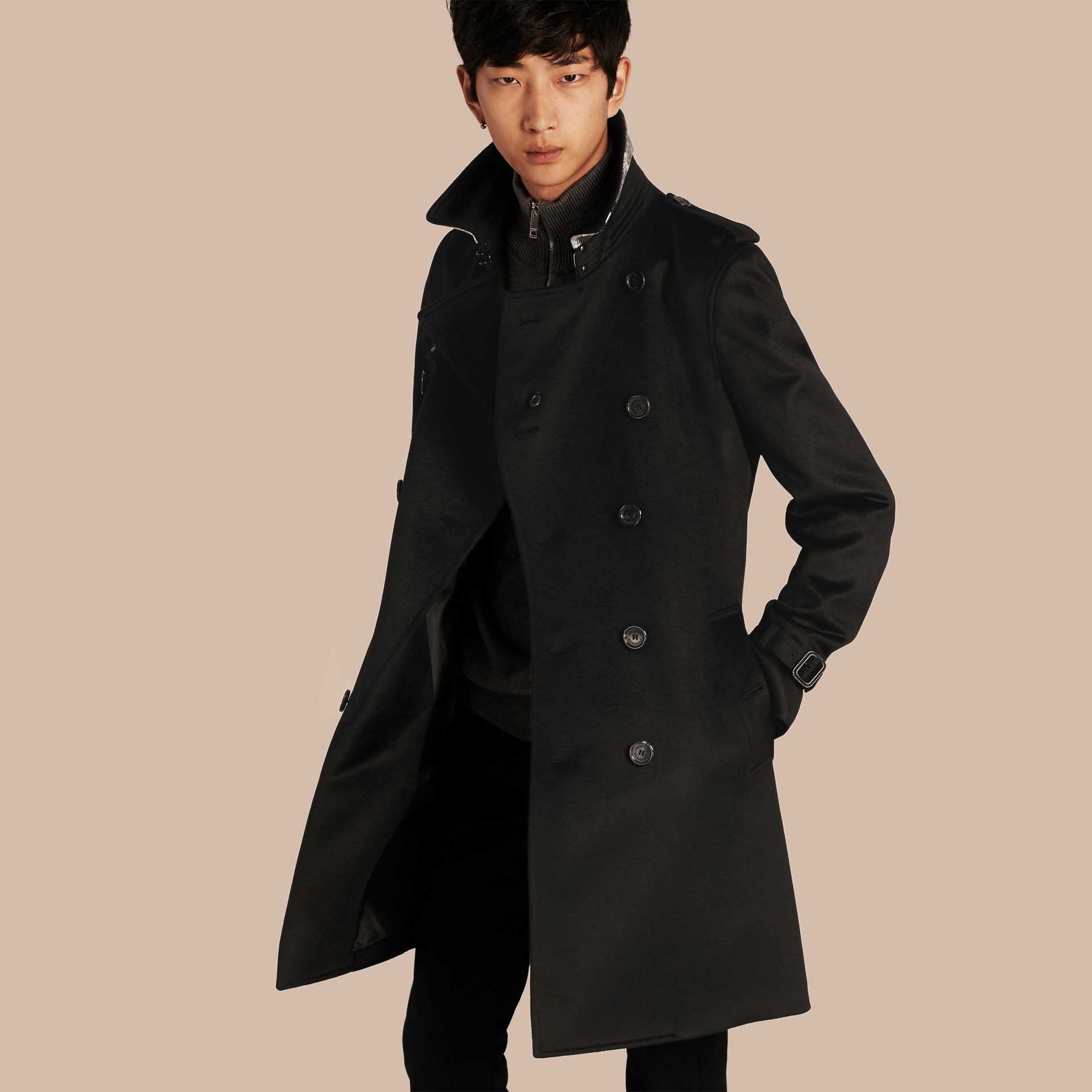 Cashmere Trench Coat in Black - Men | Burberry Australia - gallery image 1