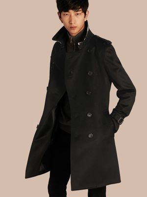 burberry coat outlet brxn  Cashmere Trench Coat Black