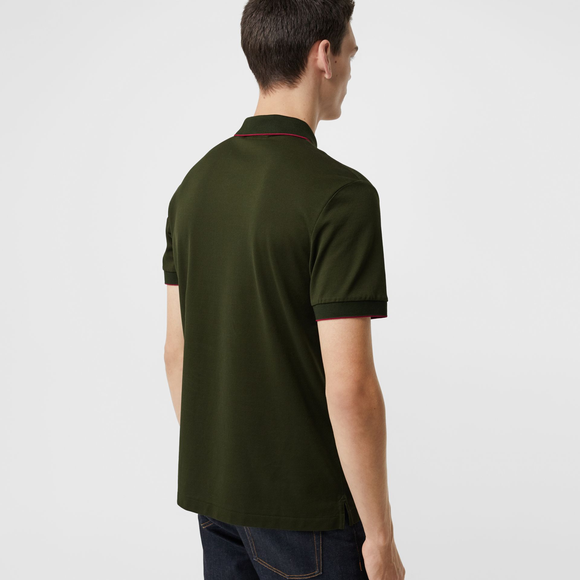 Tipped Cotton Piqué Polo Shirt in Dark Antique Green - Men | Burberry Australia - gallery image 2