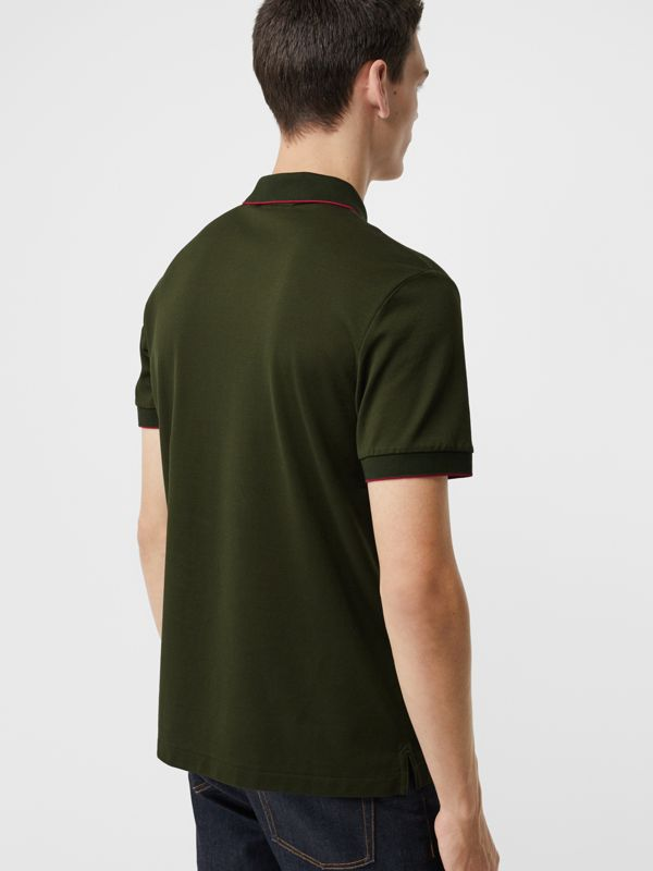 Tipped Cotton Piqué Polo Shirt in Dark Antique Green - Men | Burberry Australia - cell image 2