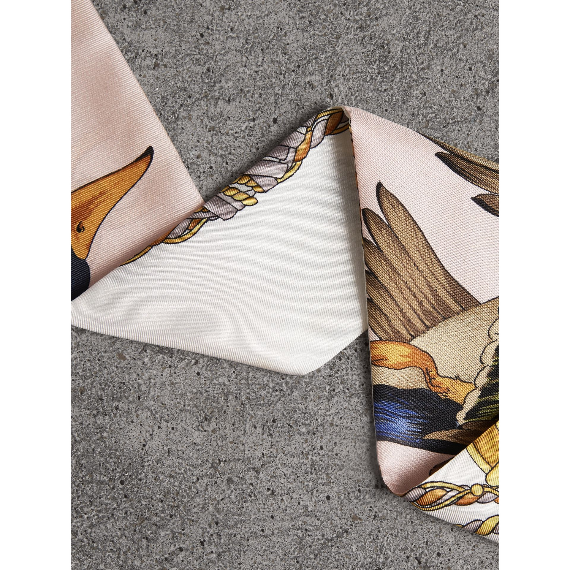 Archive Scarf Print Silk Skinny Scarf in Gold - Women | Burberry Canada - gallery image 3