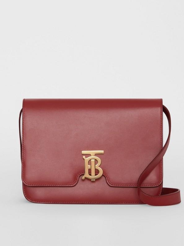 Medium Leather TB Bag in Crimson