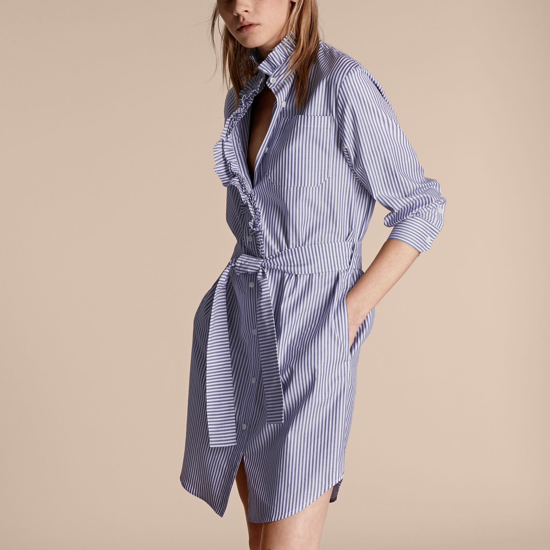 Navy Striped Cotton Shirt Dress with Ruffles - gallery image 5