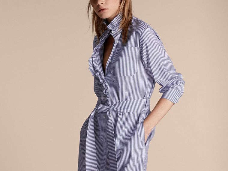 Navy Striped Cotton Shirt Dress with Ruffles - cell image 4