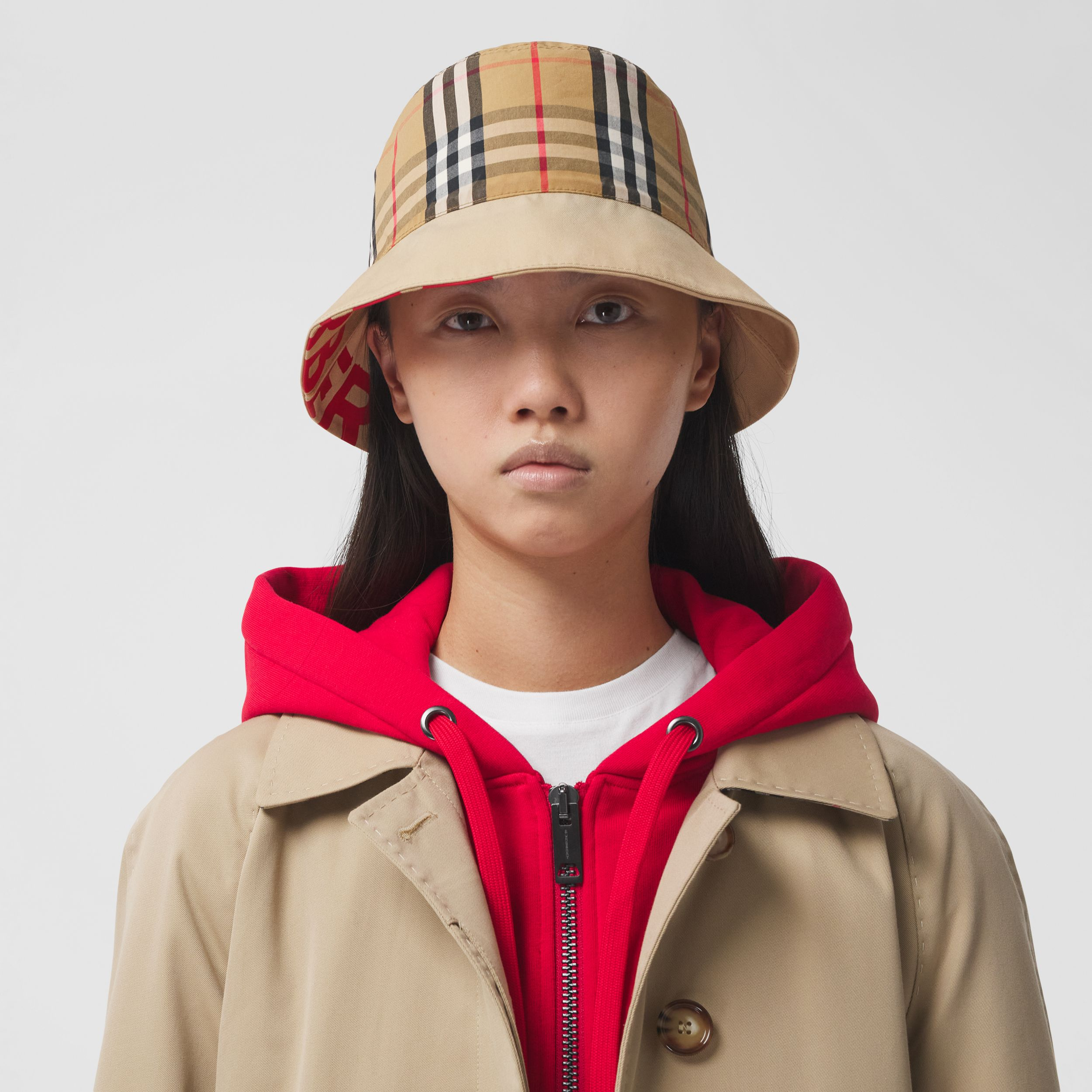 Reversible Logo Print Cotton Gabardine Bucket Hat in Honey | Burberry United States - 3