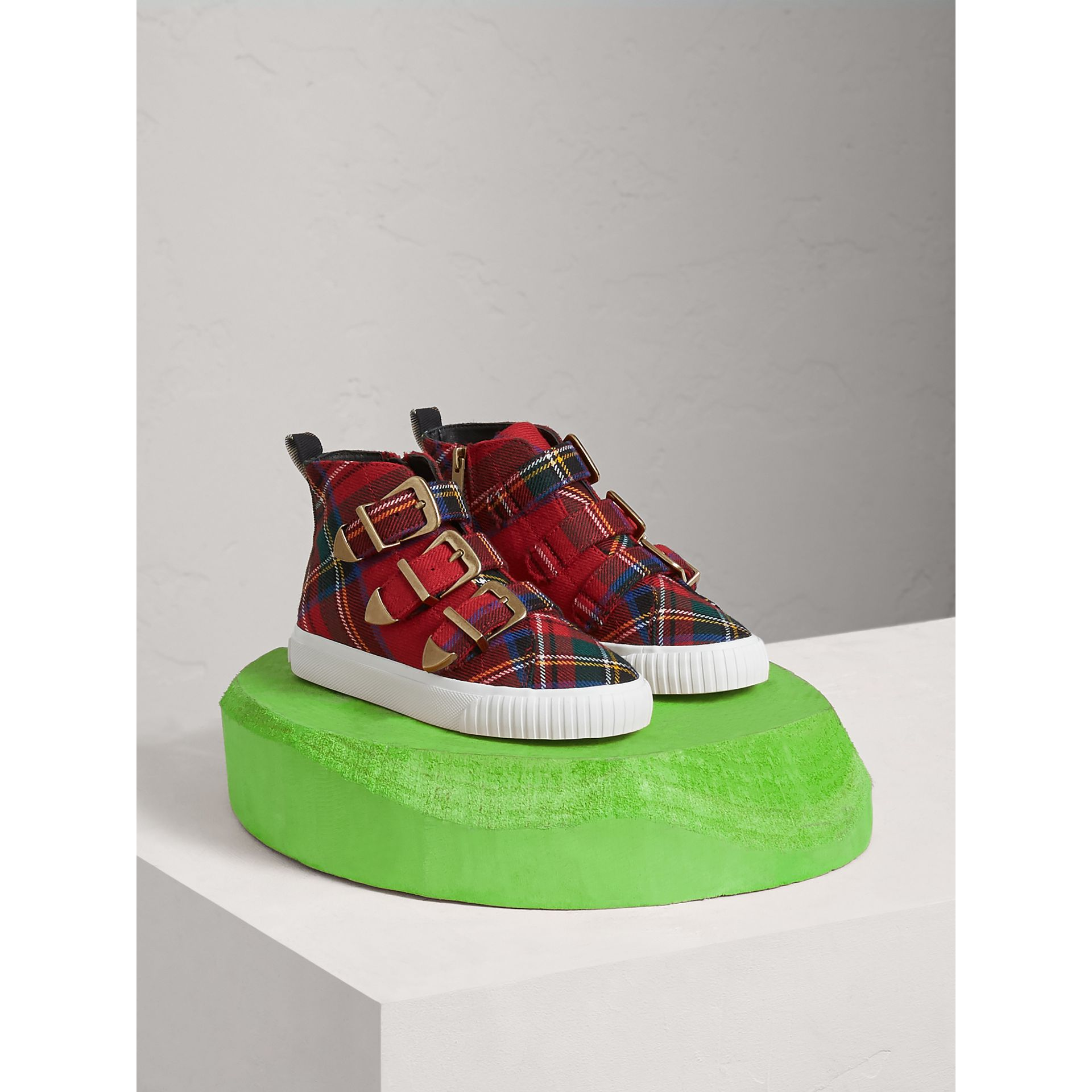 Buckle Detail Tartan Wool High-top Sneakers in Bright Red | Burberry - gallery image 0